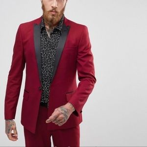 ASOS Skinny Tuxedo Suit Jacket - Ruby Red